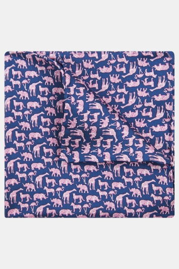 Moss 1851 Navy with Pink Animals Print Silk Pocket Square