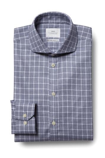 Moss London Premium Extra Slim Fit Navy Single Cuff Textured Check ...