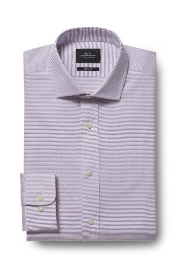 Moss London Premium Skinny Fit Purple Single Cuff Textured Shirt