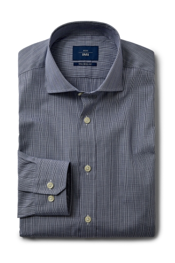 Moss 1851 Tailored Fit Navy Single Cuff Check Shirt