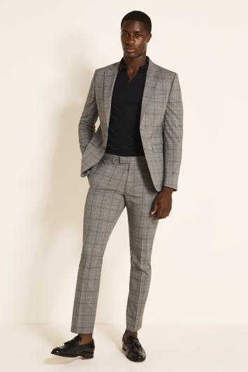 Slim Fit Grey Navy Check Jacket