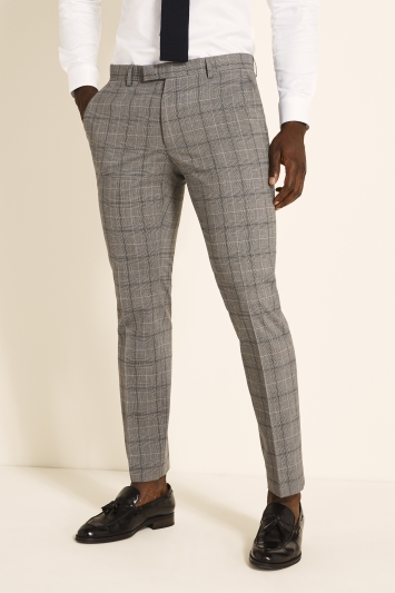 Moss 1851 Slim Fit Grey Navy Prince of Wales Check Trousers