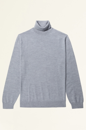 Moss Bros Silver Merino-Blend Roll-Neck Jumper