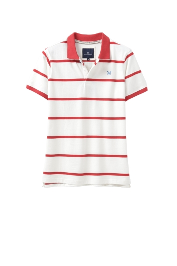 Crew Clothing White and Red Jersey Polo