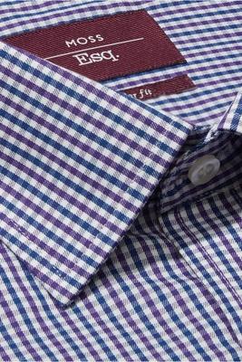 Moss Esq. Regular Fit Purple & Blue Single Cuff Check Non Iron Shirt