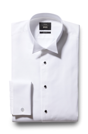 Moss 1851 Tailored Fit White Marcella Wing Collar Dress Shirt