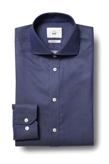 Moss 1851 Tailored Fit Navy Single Cuff Twill Zero Iron Shirt