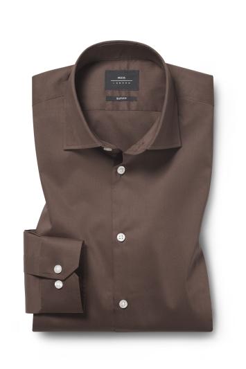 Moss London Slim Fit Brown Single Cuff Stretch Shirt