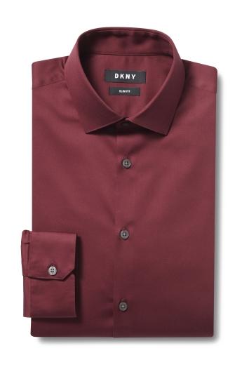 DKNY Slim Fit Wine Single Cuff Stretch Shirt