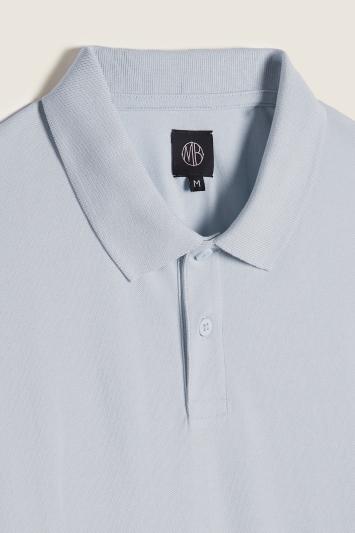 Iris Blue Melange Pique Polo Shirt