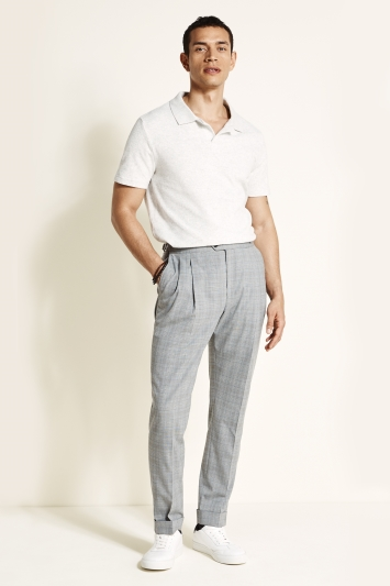 Moss 1851 Tailored Fit Grey with Brown Check Trousers