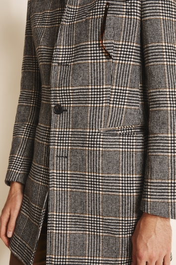 Moss 1851 Tailored Fit Black & White with Camel Double Faced Overcoat