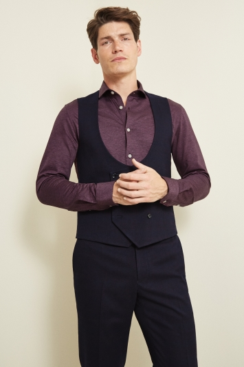 Moss London Slim Fit Navy Berry Check Double Breasted Waistcoat
