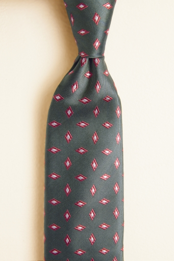 Moss 1851 Sage with Coral Diamond Geo Silk Tie