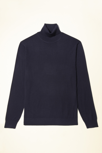 Moss Bros Navy Merino-Blend Roll-Neck Jumper