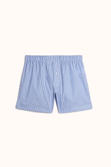 Blue Bengal Stripe Cotton Poplin Woven Boxer Short