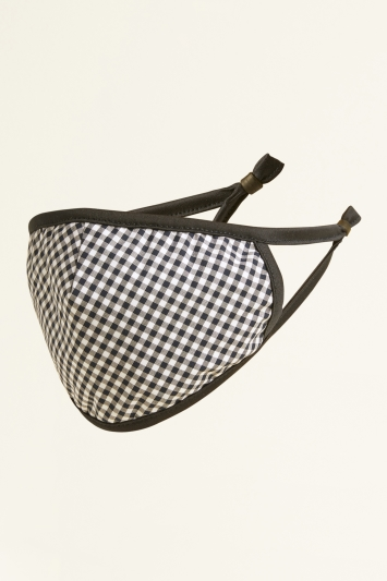 Moss Navy Check Cotton Mask