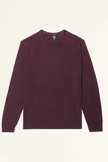 Moss Bros Burgundy Merino-Blend Crew-Neck Jumper