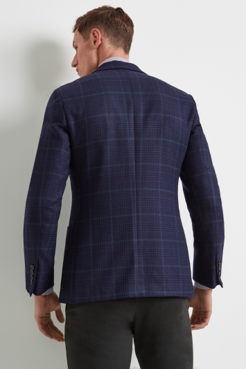 Moss 1851 Tailored Fit Blue Green Prince of Wales Check Jacket