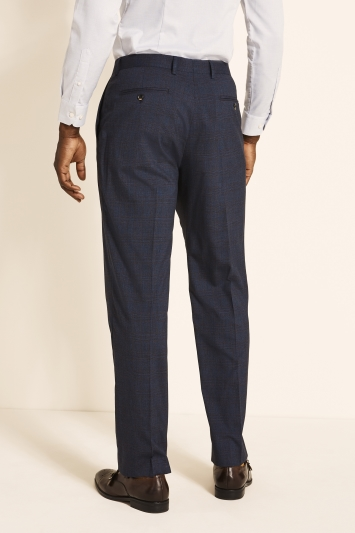 Moss 1851 Regular Fit Navy with Red Check Trouser