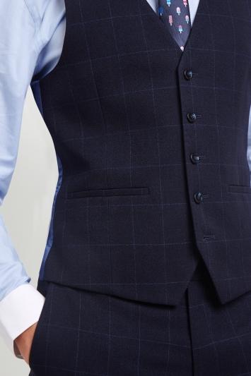Moss London Skinny Fit Blue Windowpane Waistcoat