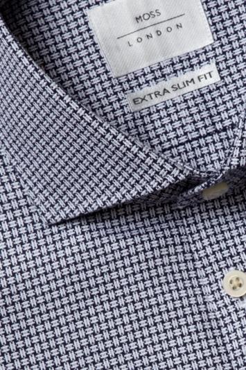 Moss London Premium Extra Slim Fit Grey Single Cuff Textured Dobby Zero Iron Shirt