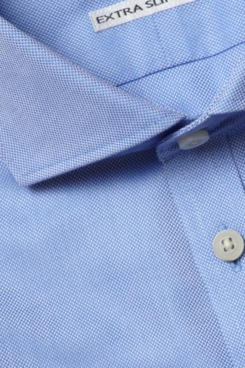 Moss London Premium Extra Slim Fit Sky Single Cuff Textured Zero Iron Shirt