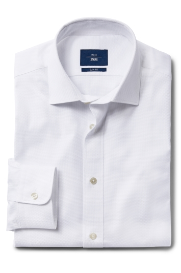 Moss 1851 Slim Fit White Single Cuff Textured Shirt