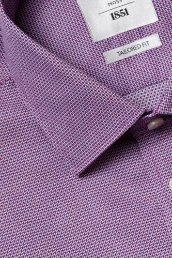 Moss 1851 Tailored Fit Navy & Pink Single Cuff Dobby Zero Iron Shirt