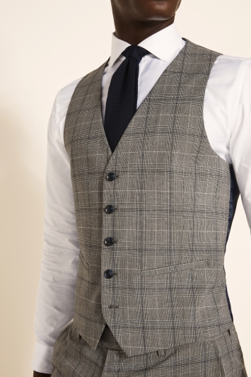 Slim Fit Grey Navy Check Waistcoat