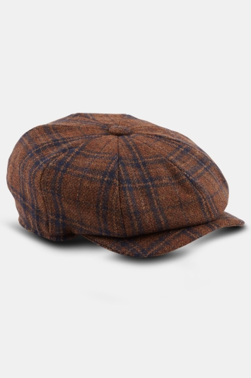 Moss 1851 Tobacco with Navy Check Wool Baker Boy Cap