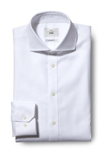 Tailored Fit White Textured Zero Iron Shirt