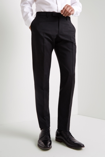 Barberis Tailored Fit Black Wool Mohair Dress Trousers