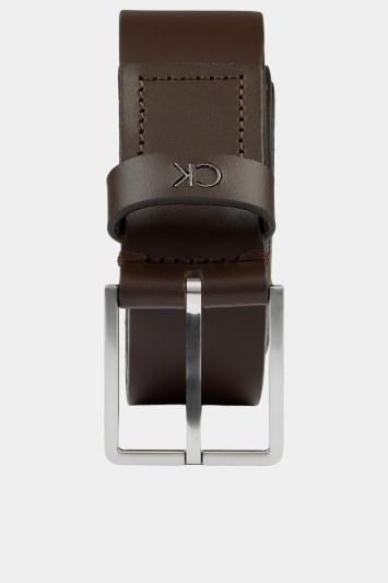 Calvin Klein Dark Brown Plaque Formal Belt