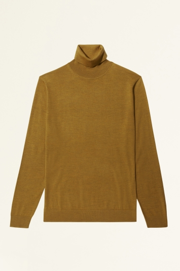 Moss Bros Mustard Merino-Blend Roll-Neck Jumper