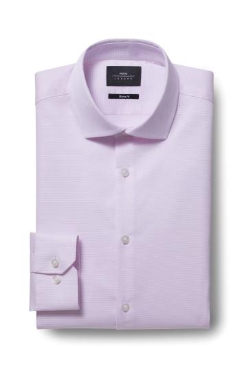 Moss London Skinny Fit Pink Single Cuff Oval Textured Stretch Shirt