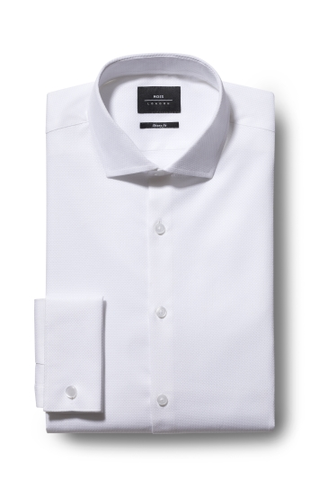 Moss London Skinny Fit White Double Cuff Textured Stretch Shirt