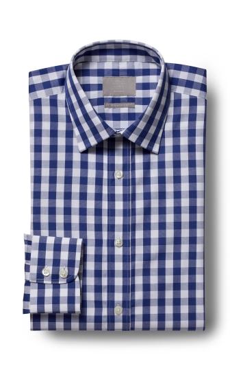 Savoy Taylors Guild Regular Fit Navy Single Cuff Gingham Shirt
