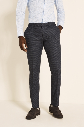 Moss London Slim Fit Navy Charcoal Puppytooth Tweed Trousers