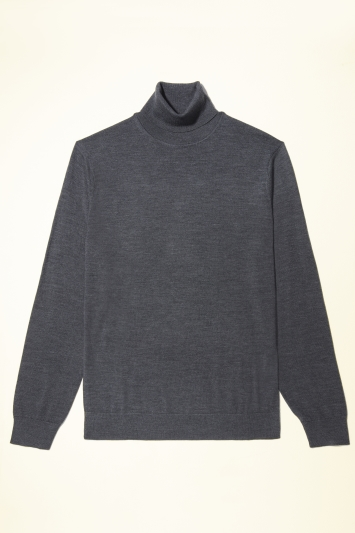 Moss Bros Charcoal Merino-Blend Roll-Neck Jumper