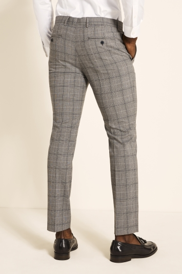 Slim Fit Grey Navy Check Trousers