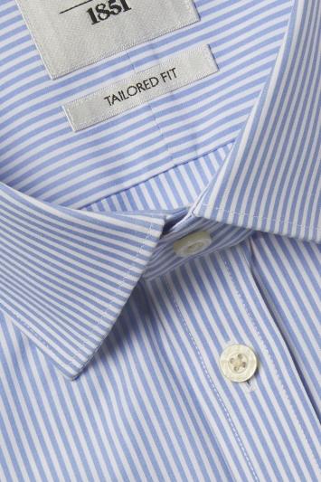 Tailored Fit Blue Stripe Short Sleeve Zero Iron Shirt