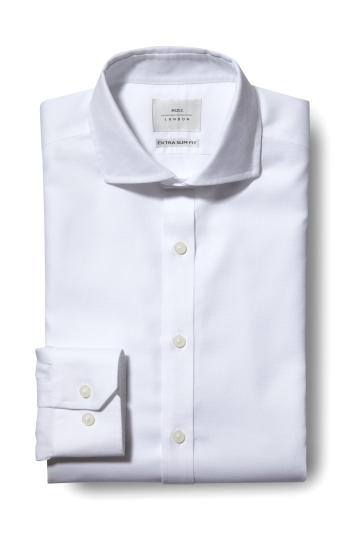 Moss London Premium Extra Slim Fit White Single Cuff Textured Zero Iron Shirt