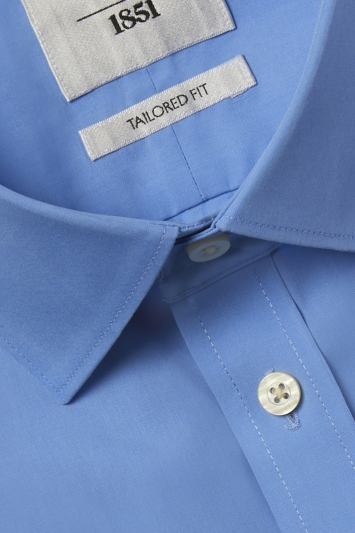 Tailored Fit Blue Short Sleeve Zero Iron Shirt