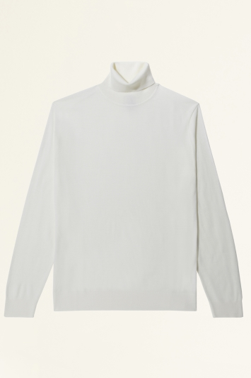 Moss Bros Winter White Merino-Blend Roll-Neck Jumper