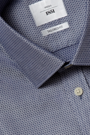 Moss 1851 Tailored Fit Indigo Single Cuff Dobby Zero Iron Shirt