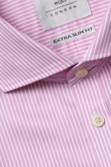 Moss London Premium Extra Slim Fit Pink Double Cuff Dobby Stripe Zero Iron Shirt