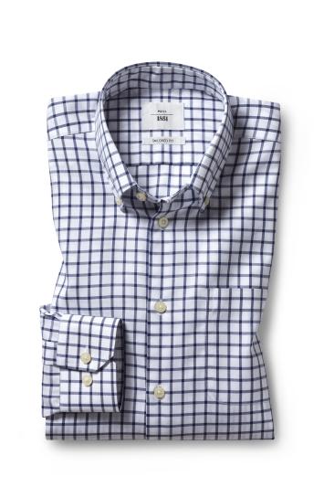Tailored Fit Navy Twill Check Zero Iron Shirt