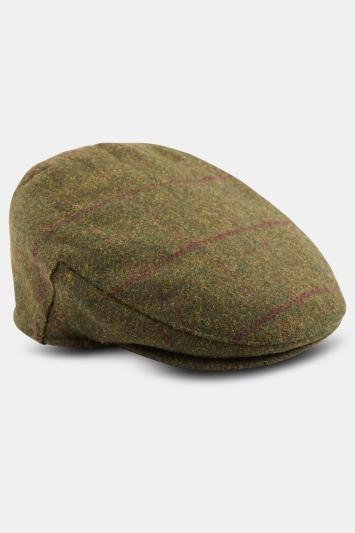 Moss 1851 Moss Green with Wine Windowpane Wool Flat Cap