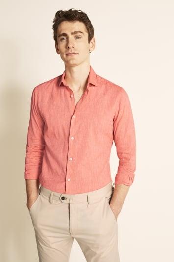 Moss London Slim Fit Coral Single Cuff Linen Stretch Shirt